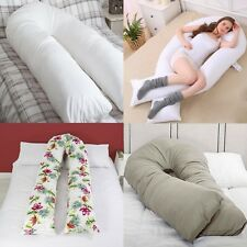 9 Ft Comfort U Pillow Full Body Back Maternity Pregnancy Support + Free Case