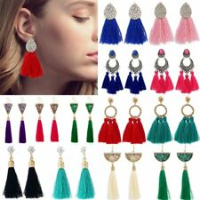Boho Long Tassel Rhinestone Dangle Drop Hook Ear Stud Earrings Womens Jewellery