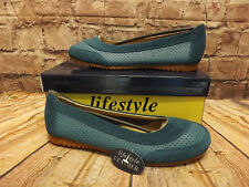 Womens Lifestyle Shelly Blue Leather Slip On Low Heel Shoes RRP £30