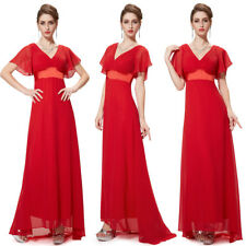Ever-Pretty Mother of Bride Dresses Chiffon Red V Neck Evening Ball Gown 09890