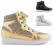 WOMENS LACE UP WEDGE PLATFORM METALLIC SHIMMER HI TOP TRAINERS ANKLE BOOTS SHOES