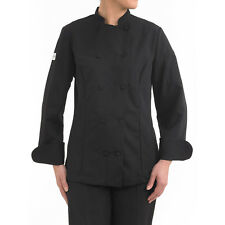 Brand New Chefwear Women's Mandarin Collar Chef Jacket Black Size XS-5XL