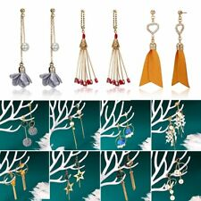 Geometric Crystal Pearl Tassel Dangle Drop Ear Stud Hook Earrings Jewellery Girl