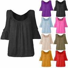 Womens Ladies Scoop Neck Stretchy 3/4 Sleeve Ruched Cut Out Cold Shoulder Top