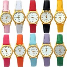 Brand Fashion Leather Wrist Watch Lady Girl Women Kids Quartz Analog Watches U56