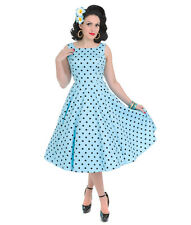 HEARTS AND ROSES H&R RHIANNON BLUE POLKA DOT SWING DRESS RETRO VINTAGE 40'S 50'S