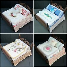Handmade Miniature 1/12th scale dolls hse bedding sets for a DOUBLE - various.