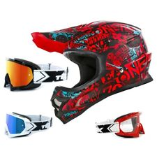 ONEAL 3Series CASCO Attack NERO ROSSO CON TWO-X OCCHIALI RACING da motocross