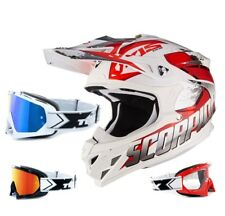 SCORPION VX-15 EVO AIR CASCO DA CROSS DEFENDER bianco TWO-X RACE MX OCCHIALI