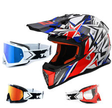 LS2 Casco da cross MX437 QUASI FORTE BIANCO BLU ENDURO TWO-X OCCHIALI RACING