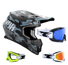 THOR SECTOR Covert Casco da cross motocross NERO BLU TWO-X RACE OCCHIALI