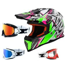 LS2 Casco da cross MX437 QUASI FORTE BIANCO VERDE FUCSIA CASCO ENDURO TWO-X