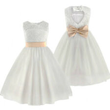 New Ivory Lace Flower Bridesmaid Princess Wedding Girls Dress Party Kids Clothes