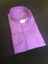 Purple Clergy Clerical Shirt - Italian Made - Poly/Cot - Money Back Guarantee!!!
