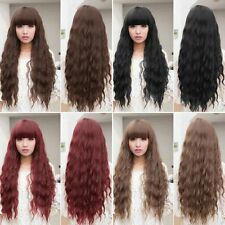 Womens  Long Wavy Curly Hair Synthetic Cosplay Wigs Party Heat Resistant GN