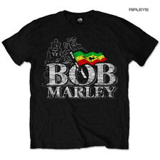 Official Unisex T Shirt BOB MARLEY Rasta Flag 'Distressed' Logo All Sizes