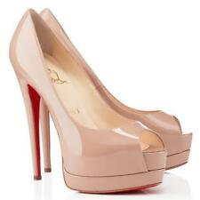 Christian Louboutin PALAIS Royal 120 Patent Platform Heels Pump Shoes Nude $945