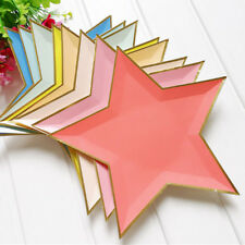 8PCS DISPOSABLE STAR PAPER PLATE GOLD FOIL BIRTHDAY PARTY CARNIVAL SUPPLIES TRS