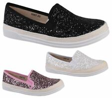 WOMENS LADIES FLAT SLIP ON GLITTER PLIMSOLLS PUMPS TRAINERS SKATER SHOES SIZE