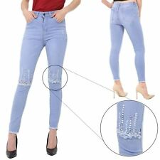 Womens Raw Edges Ripped Studded Knee Cut Ladies Destroyed Distressed Denim Jeans