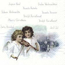 SERVIETTES EN PAPIER JOYEUX NOEL ANGES. PAPER NAPKINS MERRY CHRISTSMAS ANGELS