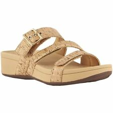 Vionic Pacific Rio Gold Cork Womens Cork Wedge Slip-On Open-back Slide Sandals