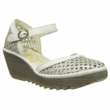 Fly London Yadu 732 Silver Off White Womens Leather Closed toe Wedge Sandals