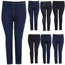 Womens Ladies Stretchy Denim Look Jeans Jegging Leggings Trousers Pants