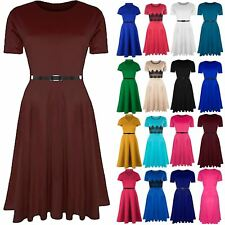 Ladies Belted Flared Cap Sleeve Plain Swing Womens Midi Skater Dress Plus Size
