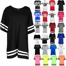Womens Baggy Mini Dress Tops Baseball Sleeve Stripe Oversized Stretchy T Shirts