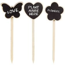 Garden Plant Blackboard With Chalk Wooden Spike Allotment Seed Flower Label Tag