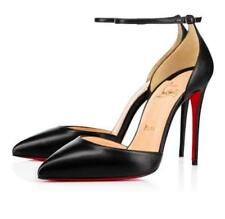 Christian Louboutin UPTOWN 100 Leather Ankle Strap Heels Sandal Shoes Black $845