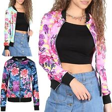 Womens MA1 Casual Bomber Jacket Camo Floral Biker Vintage Soft Touch Jacket Coat