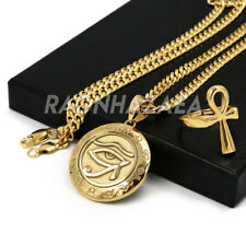 Stainless Steel Gold Round Eye of Horus Medal Pendant W Cuban Chain / Ankh Ring