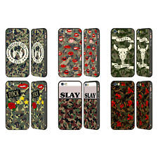 HEAD CASE DESIGNS CAMO ALLA MODA NERO COVER CONTORNO PER APPLE iPHONE TELEFONI