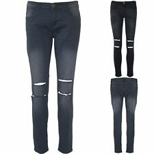 Ladies Womens Skinny Knee Cut Ripped Destroyed Distressed Denim Stretchy Jeans