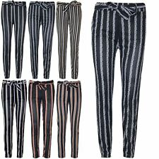 Womens Ladies Striped Wide Leg High Waisted Belted Flared Pants Palazzo Trousers