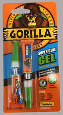 GORILLA SUPER GLUE GEL 2 X 3G TUBES IMPACT TOUGH QUICK SETTING LEATHER METAL RDG