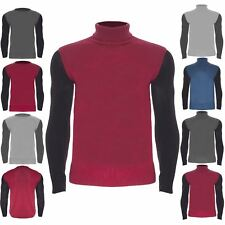 Mens Designer Contrast Long Sleeves Polo Roll Neck Knit Pullover Sweater Jumper