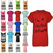 Ladies Womens Oversized I'm a Limited Edition Heart Cap Sleeve Baggy T Shirt Top