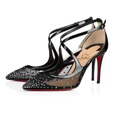 Christian Louboutin TWISTISSIMA Strass Crystal 85 Lace Heels Shoes Black $1245