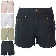 Womens Ladies Denim Studded Ripped Buttons Hot Pants Pockets Raw Edges Shorts