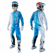 Troy Lee Designs Gp Air Combinata 50/50 Bianco Blu Pantaloni Camicia Enduro