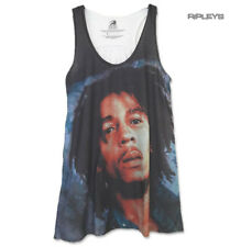 Official Ladies T Shirt BOB MARLEY Vintage Floaty White Vest Top 'Face' All Size