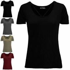 Womens Ladies Short Sleeve Front Cross Over Strap Baggy Casual Basic Tee T Shirt