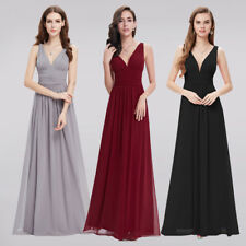Long Chiffon Evening Party Ball Prom Bridesmaid Dress V Neck Mother of the Bride