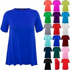 Plus Size Ladies Womens Plain Turn Up Button Short Sleeve Stretch T-Shirt Top