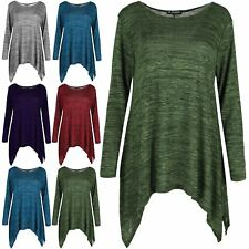 New Womens Knitted Long Sleeve Hanky Hem Oversized Scoop Neck Jumper Poncho Top