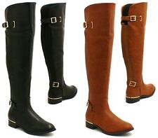 WOMENS LADIES FLAT LOW HEEL OVER THE KNEE HIGH WIDE CALF RIDING BOOTS SIZE