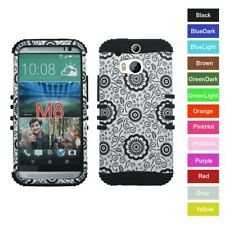 For HTC One M8 , W8 Flower Pattern Hybrid Hard&Rubber Rugged Armor Case Cover